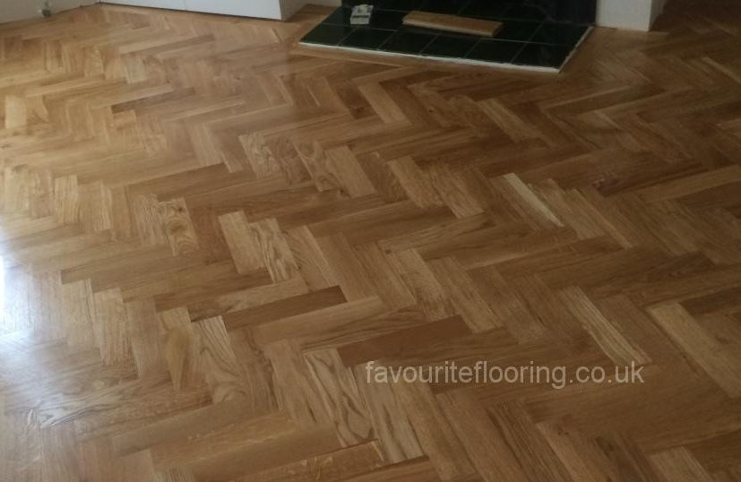 Oak Herringbone in front of fireplace