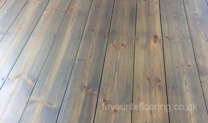 Pine boards with antique stain