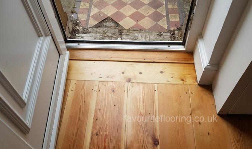 Pine wood threshold