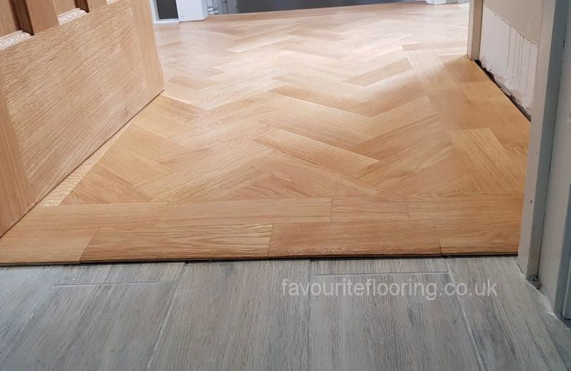 Oak herringbone with double border