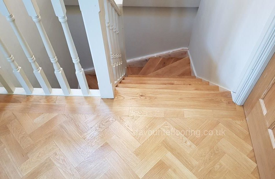 Oak parquet flooring and steps