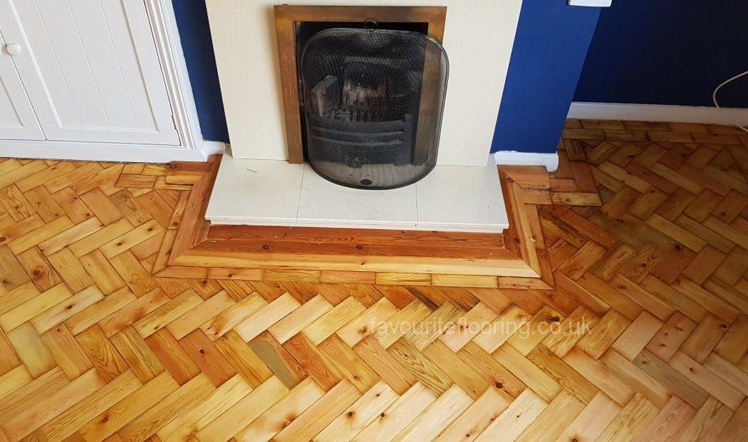 Sanding Pine Threshold around fire place