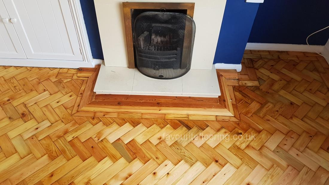 Sanding Pine Threshold around fire place