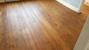 Sanding pine boards with Walnut stain