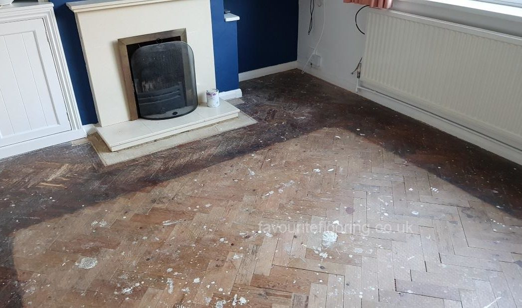 Pine parquet flooring before restoration