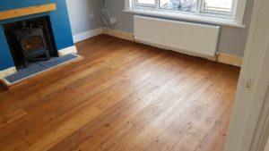 Sanding pine wood with Walnut stain