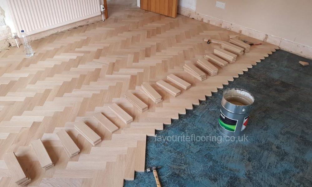 Parquet flooring in progress