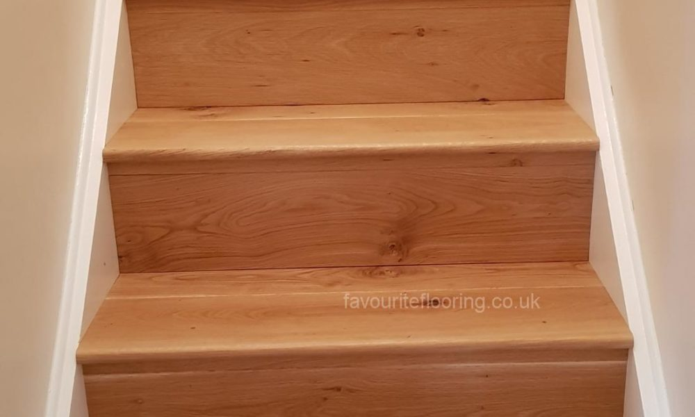 Old pine steps after cladding with Oak wood