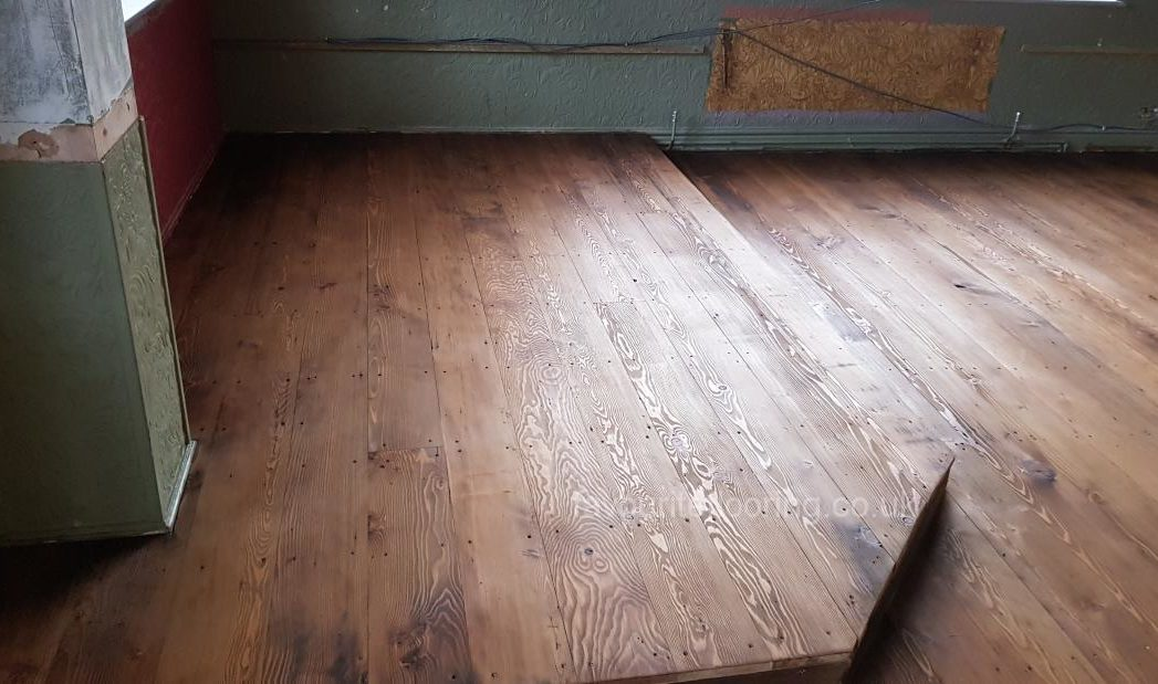 Old pine wood after stained