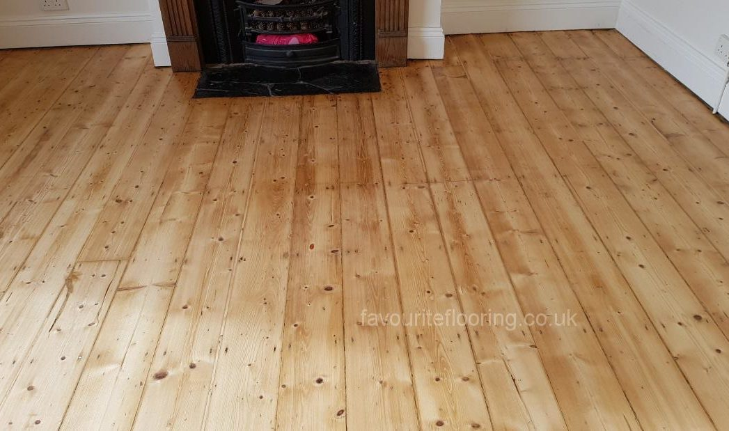 Old Pine floor boards with mat varnish finished