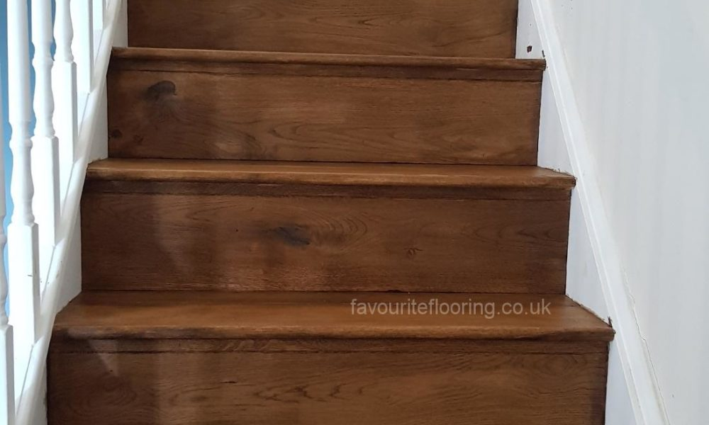 Cladding the steps with Oak wood and stain