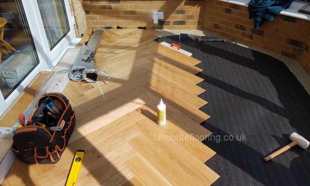 Engineered parquet flooring in progres