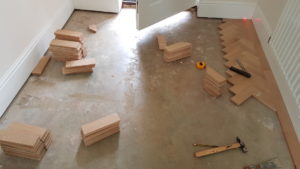 First step for installation of parquet flooring