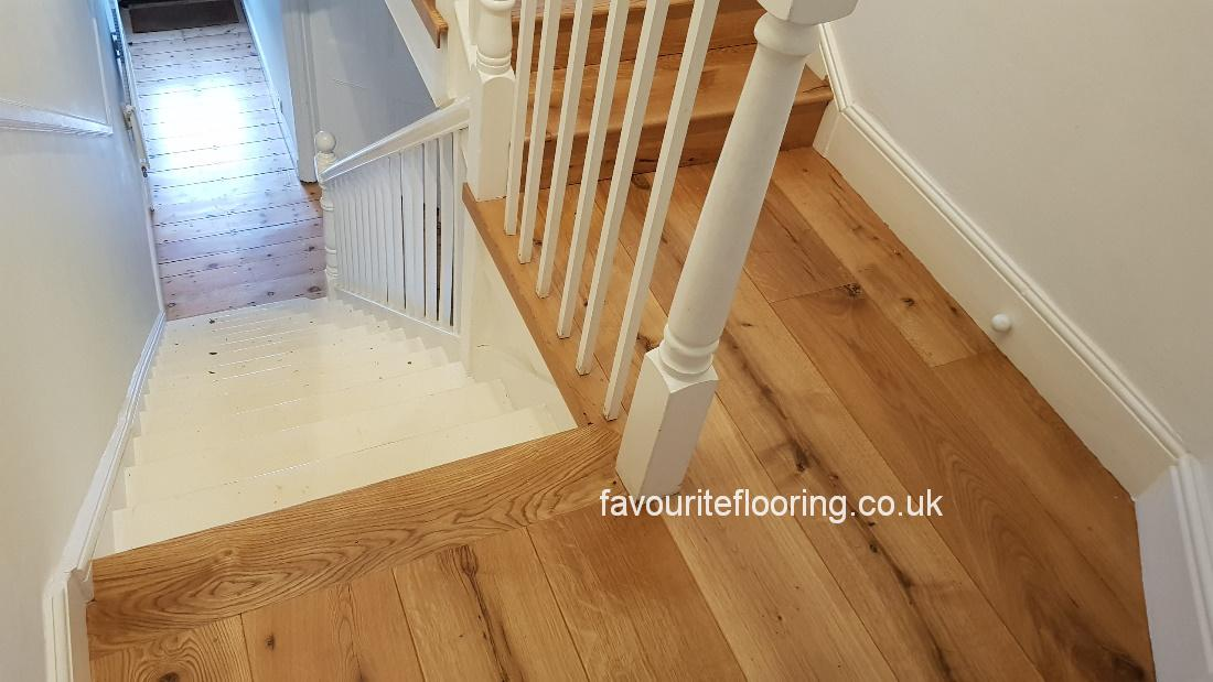 Solid oak boards with oil finished hallway